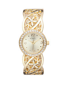 Kim Rogers Women's Round Gold-Tone Floral Band Cuff Bangle Watch