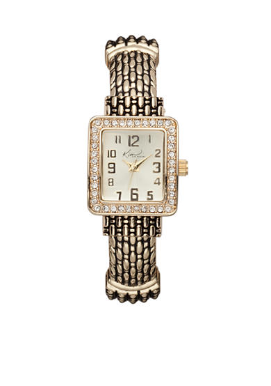 Kim Rogers® Women's Gold-Tone Rectangular Glitz Cuff Bangle Watch
