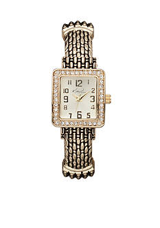 Kim Rogers Women's Gold-Tone Rectangular Glitz Cuff Bangle Watch