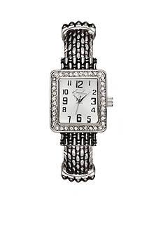Kim Rogers Women's Silver-Tone Rectangular Glitz Cuff Bangle Watch