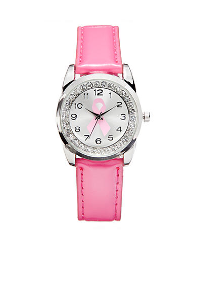 Kim Rogers® Women's Breast Cancer Awareness Pink Patent Strap Watch
