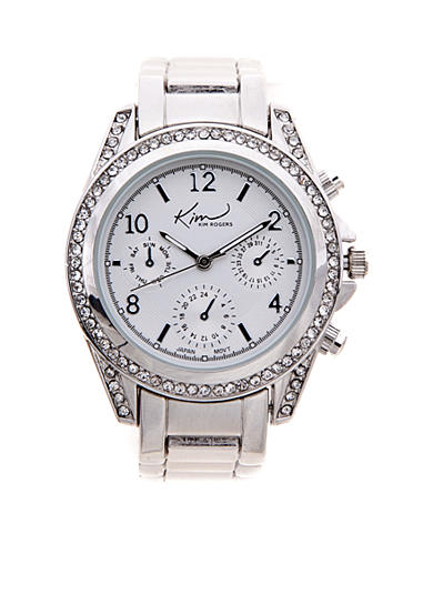 Kim Rogers® Women's Silver-Tone Chrono Dial Watch
