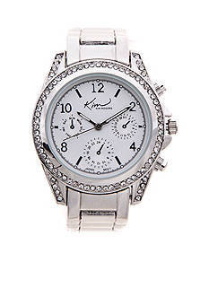 Kim Rogers Women's Silver-Tone Chrono Dial Watch