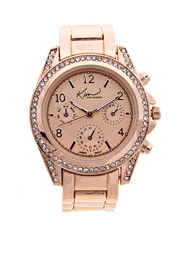 Kim Rogers® Women's Rose Gold Chrono Dial Watch