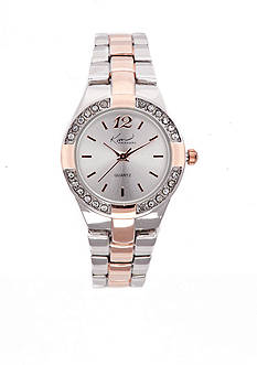 Kim Rogers Women's Rose Gold and Silver-Tone Bracelet Watch