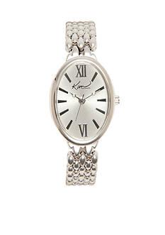 Kim Rogers Women's Silver Tone Oblong Bracelet Watch