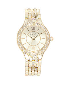 Kim Rogers Women's Round Gold-Tone Bracelet Watch