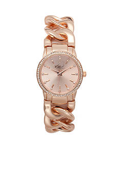 Kim Rogers® Women's Round Rose Gold-Tone Chain Link Bracelet Watch