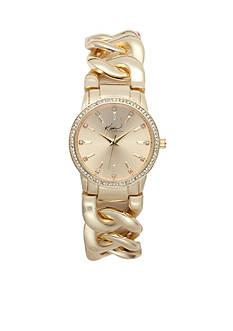 Kim Rogers Women's Round Gold-Tone Chain Link Bracelet Watch