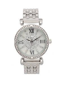 Kim Rogers Women's Silver Tone Embellished Bracelet Watch