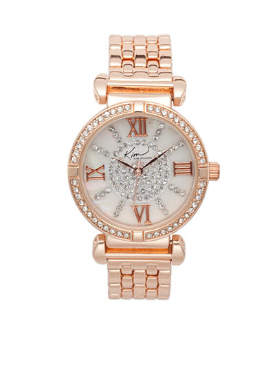 Kim Rogers® Women's Rose Gold Tone Embellished Bracelet Watch