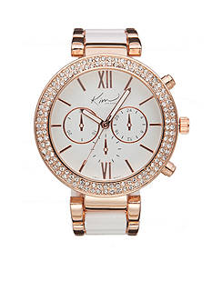 Kim Rogers® Women's Rose Gold-Tone and White Watch