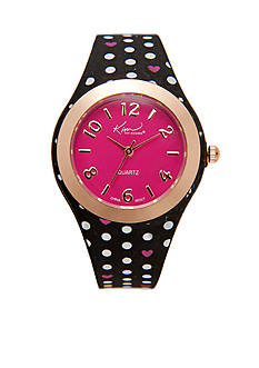 Kim Rogers Black and Pink Polka Dot Silicone Watch
