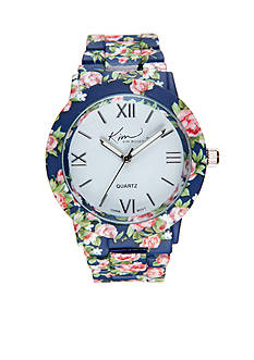 Kim Rogers Navy Enamel Floral Watch