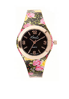 Kim Rogers Women's Black Floral Silicone Watch