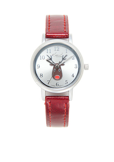 Kim Rogers® Women's Red Metallic Reindeer Watch