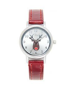 Kim Rogers Women's Red Metallic Reindeer Watch