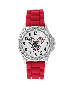 Kim Rogers Silver-Tone A Classic Time Red Rubber Strap with Candy Cane Dial Holiday Watch