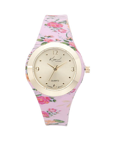 Kim Rogers® Women's Pink Floral Silicone Strap Watch