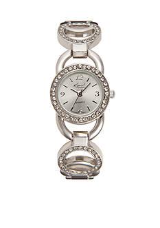 Kim Rogers Women's Circular Glitz Silver-Tone Watch