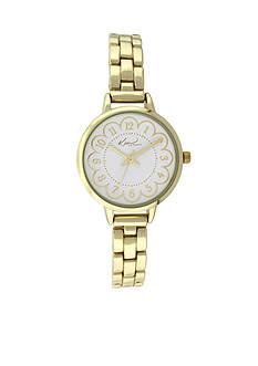 Kim Rogers® Women's Gold-Tone Flower Dial Watch
