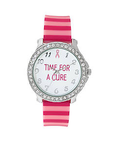 Kim Rogers Women's Pink Striped Silicone Watch