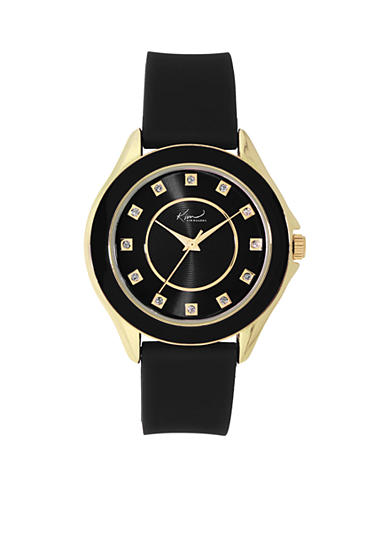 Kim Rogers® Women's Silicone Black and Gold-Tone Watch