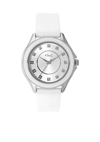 Kim Rogers® Silver-Tone A Classic Time White Silicon Strap Watch