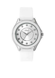 Kim Rogers Silver-Tone A Classic Time White Silicon Strap Watch