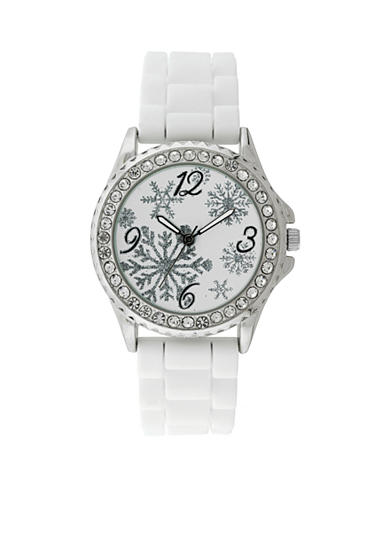 Kim Rogers® Silver-Tone A Classic Time White Rubber Strap and Snowflake Dial Holiday Watch