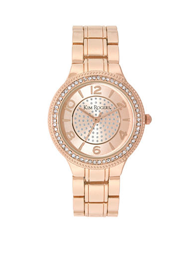 Kim Rogers® Rose Gold-Tone A Classic Time with a center glitz dial Watch