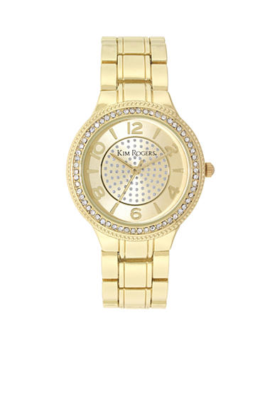 Kim Rogers® Gold-Tone Metal A Classic Time Center Glitz Dial Watch
