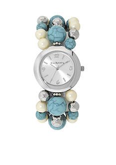 Kim Rogers Women's Silver-Tone and Turquoise Watch