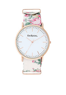 Kim Rogers® Women's White Floral Watch