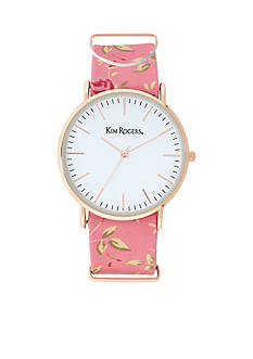 Kim Rogers Women's Coral Floral Watch