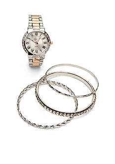 Kim Rogers Women's Two Tone Watch Bangle Set