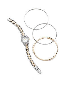 Kim Rogers Women's Two-Tone Watch and Bangle Set