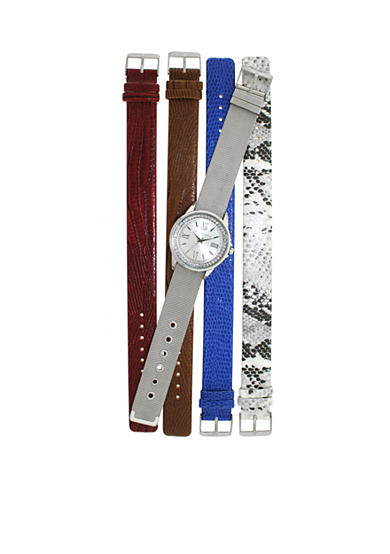 Kim Rogers® Silver-tone A Classic Time with interchangeable strap Watch