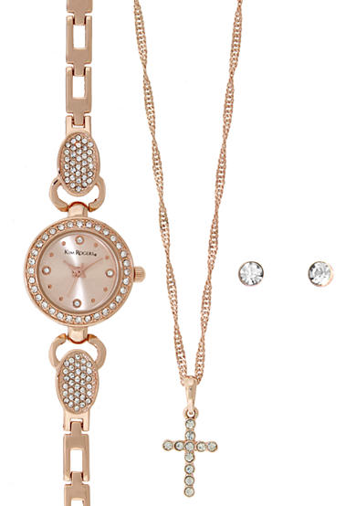 Kim Rogers® Rose Gold-Tone A Classic Time with Rose Gold Dial Watch, Earrings and Necklace Set