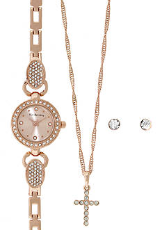 Kim Rogers Rose Gold-Tone A Classic Time with Rose Gold Dial Watch, Earrings and Necklace Set
