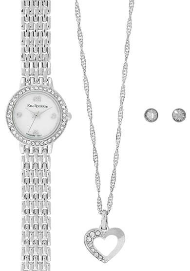 Kim Rogers® Silver-Tone A Classic Time Necklace, Watch and Earring Set
