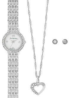 Kim Rogers Silver-Tone A Classic Time Necklace, Watch and Earring Set