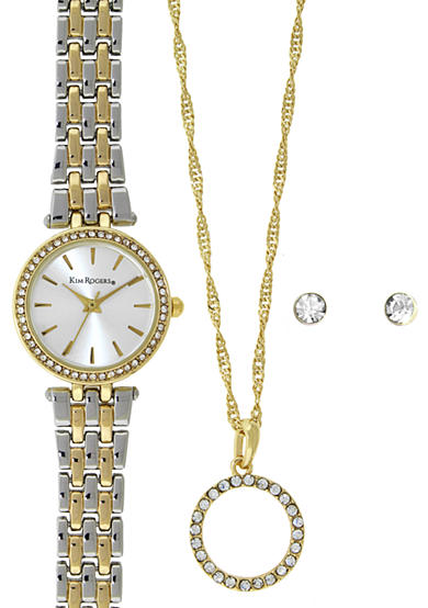 Kim Rogers® Two-Tone Silver and Gold A Classic Time Watch, Necklace and Earring Set