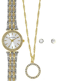 Kim Rogers Two-Tone Silver and Gold A Classic Time Watch, Necklace and Earring Set