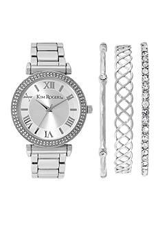 Kim Rogers Silver- Tone A Classic Time Bangle Bracelet Set