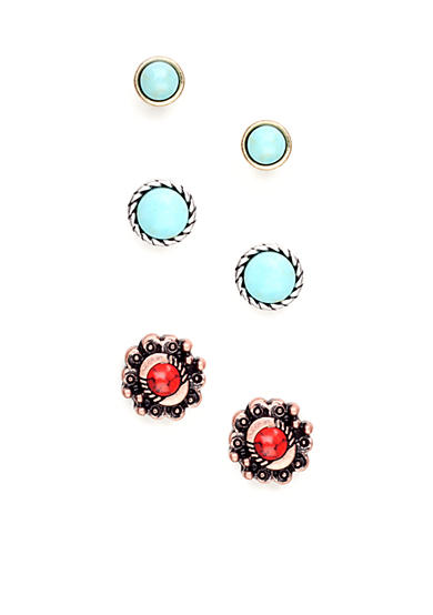 Nine West Vintage America Collection Three Pair Stud Earring Set