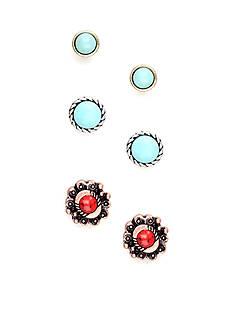 Nine West Vintage America Collection Three Pair Stud Earring Set