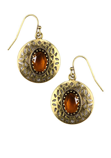 Nine West Vintage America Collection Etched Oxidized Gold Drop Earring with Topaz Stone Accent