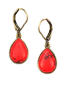 Nine West Vintage America Collection Coral and Gold-Tone Lever Back Earring