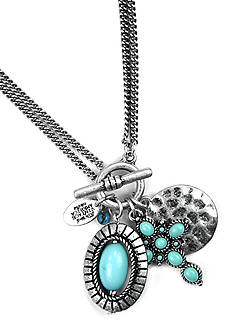 Nine West Vintage America Collection Antique Silver-Tone and Turquoise Charm Necklace